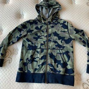 Crewcuts camo zip up hoodie, size 7